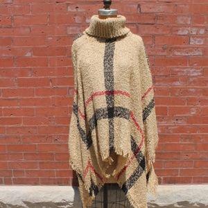 Sweaters - Vintage Brown Plaid Poncho